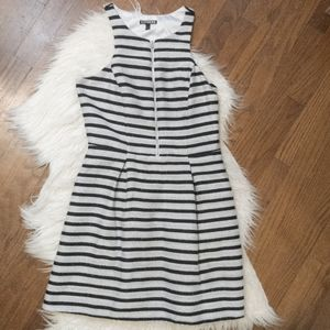 Express Black & White Striped A Line Dress